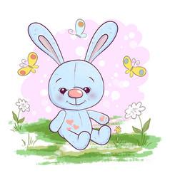 Postcard cute little hare flowers vector