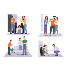 problems in family couples domestic violence set vector image