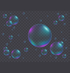 realistic iridescent bubbles different sizes vector image