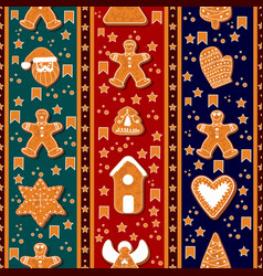 seamless pattern of gingerbread characters vector image