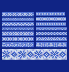 set of knitted ornamental lines vector image