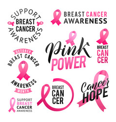 Set of labels breast cancer awareness vector