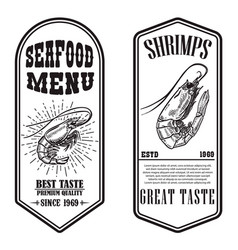 set seafood flyers with shrimp design element vector image