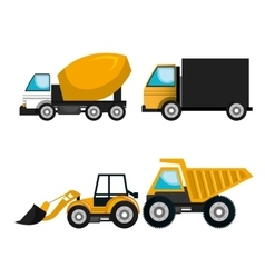 Set vehicles construction machinery vector