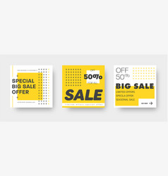 set white and yellow web banners for big and vector image