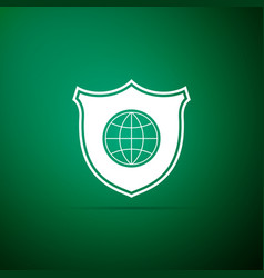 shield with world globe icon isolated on green vector image