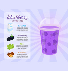 Smoothie recipe - blackberry cartoon flat style vector
