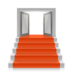 Stair with open doors vector