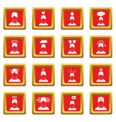 Stress icons set red vector