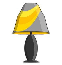 Table lamp in yellow and gray colours stands on a vector