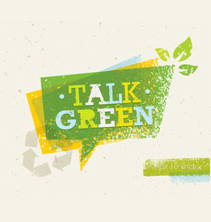Talk green eco speech bubble on organic paper vector