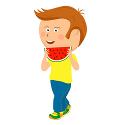 Teenager boy walking with slice of watermelon vector