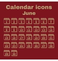 The calendar icon June symbol Flat vector