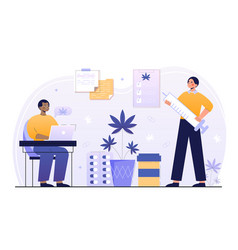 two male characters are using medical cannabis vector image
