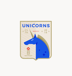 unicorn medieval sports team emblem abstract vector image