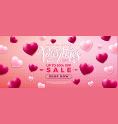 valentines day sale design with red and white vector image