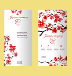 Vertical flyer or brochure with cherry blossom or vector
