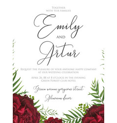Wedding floral watercolor elegant boho invite card vector