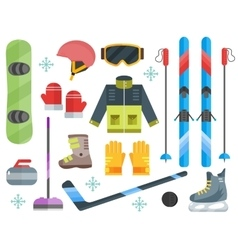 Winter sports equipment set-ski curling skates vector