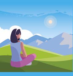 Woman contemplating horizon in field scene vector
