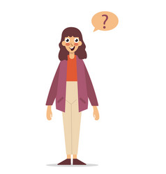 young woman with question marks vector image