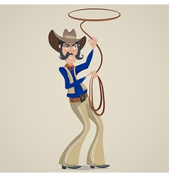 cowboy with lasso funny cartoon character vector image