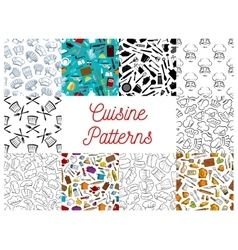 Cuisine kitchen utensils chef hat patterns set vector image