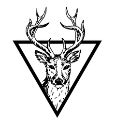 hipster logo with deer vector image vector image