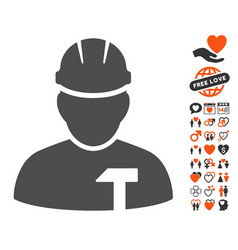 builder person icon with lovely bonus vector image vector image
