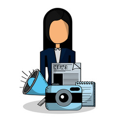 business woman speaker camera and news vector image
