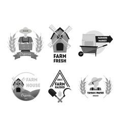 cartoon silhouette black farm labels set vector image