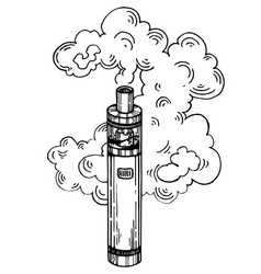 electronic cigarette engraving style vector image