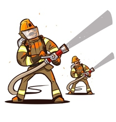 firefighter with the hose vector image