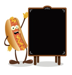 Funny Hot dog and a blackboard vector image