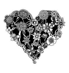 Ornate floral heart vector image
