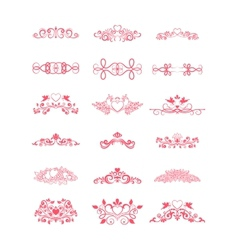Pink Decorative Curly Elements vector image