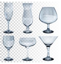Set of empty transparent glass goblets vector