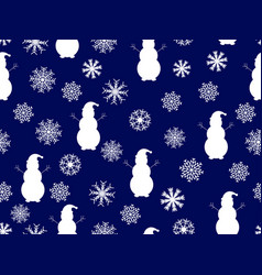 snowmen and snowflakes seamless pattern christmas vector image vector image