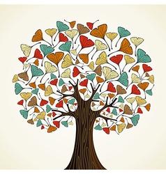 Abstract ginkgo autumn tree vector