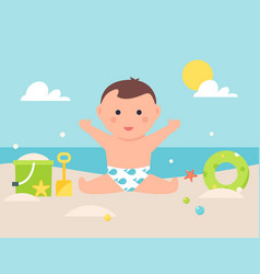 baby sitting on sandy beach with toys and pool vector image vector image
