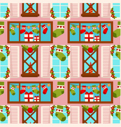 christmas winter holiday gift stocking seamless vector image