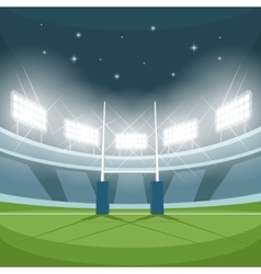 Rugby stadium with lights at night vector image