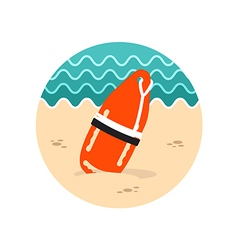 Torpedo rescue lifeguard buoy icon Summer vector image vector image