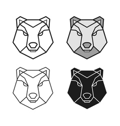 Bear geometric head set vector image