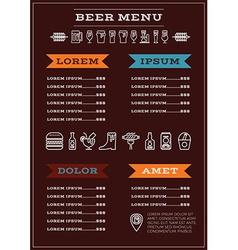 Beer menu template vector