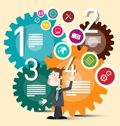 Business Man with Colorful Cogs and Web Circle vector image