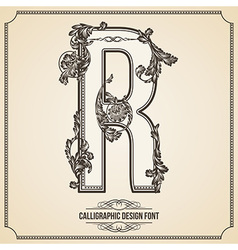 Calligraphic font Letter R vector image
