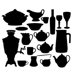Dishes silhouettes set vector image vector image