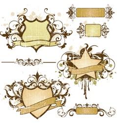 grunge heraldry elements vector image vector image