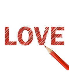 Love word drawn with red pencil vector image vector image